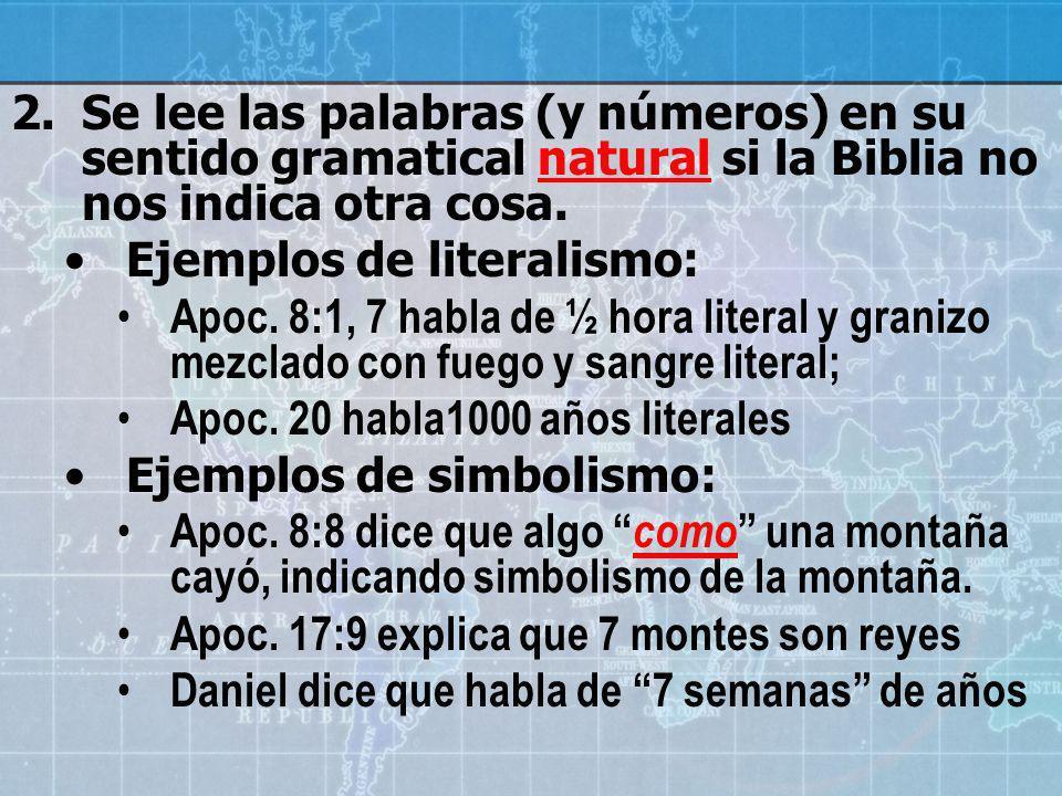 Se lee las palabras (y números) en su sentido gramatical natural si la Biblia no nos indica otra cosa.