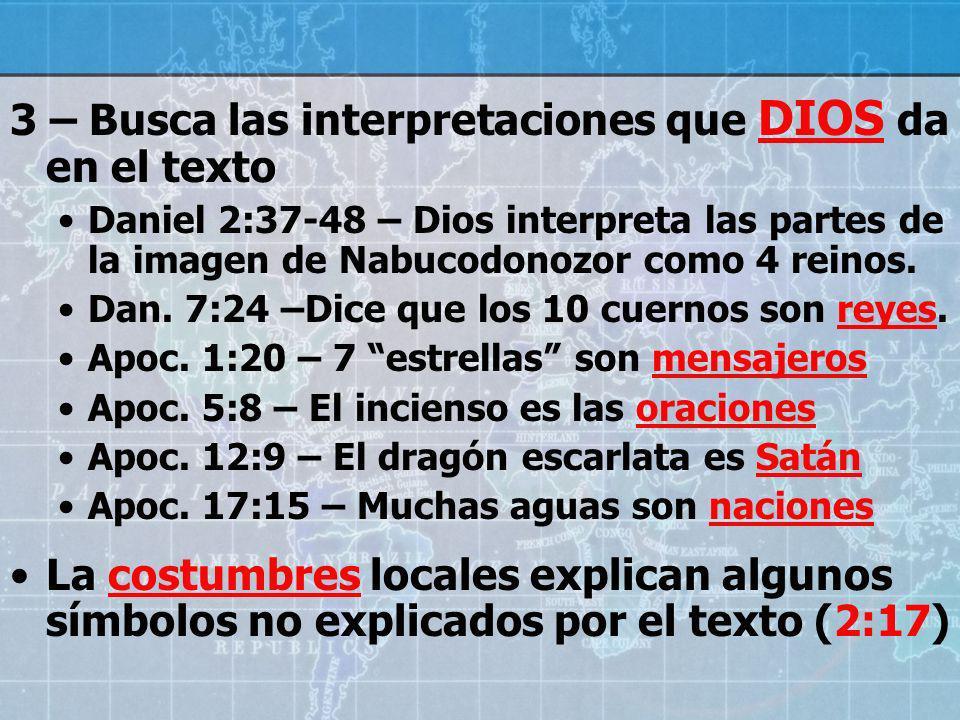 3 – Busca las interpretaciones que DIOS da en el texto