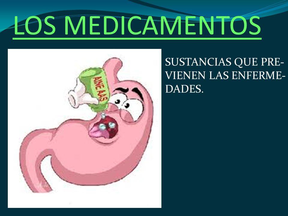 LOS MEDICAMENTOS SUSTANCIAS QUE PRE- VIENEN LAS ENFERME- DADES.