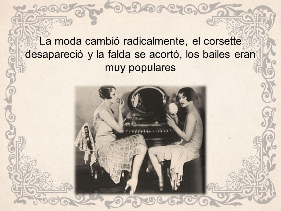 La moda cambió radicalmente, el corsette desapareció y la falda se acortó, los bailes eran muy populares