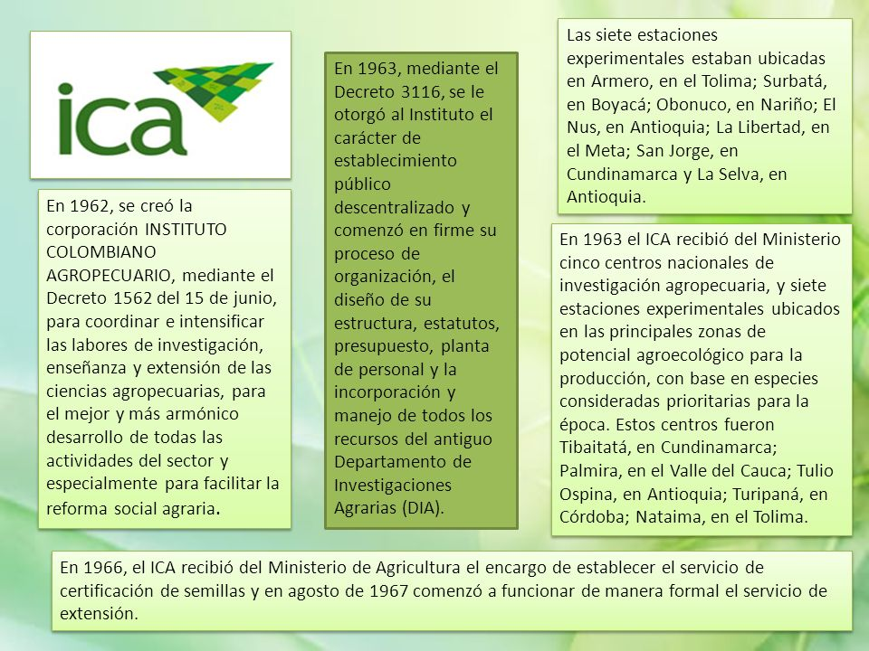 Las siete estaciones experimentales estaban ubicadas en Armero, en el Tolima; Surbatá, en Boyacá; Obonuco, en Nariño; El Nus, en Antioquia; La Libertad, en el Meta; San Jorge, en Cundinamarca y La Selva, en Antioquia.