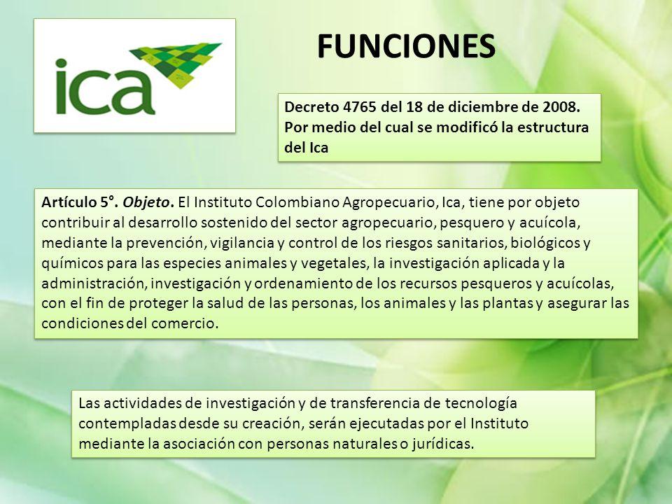 FUNCIONES Decreto 4765 del 18 de diciembre de 2008. Por medio del cual se modificó la estructura del Ica.