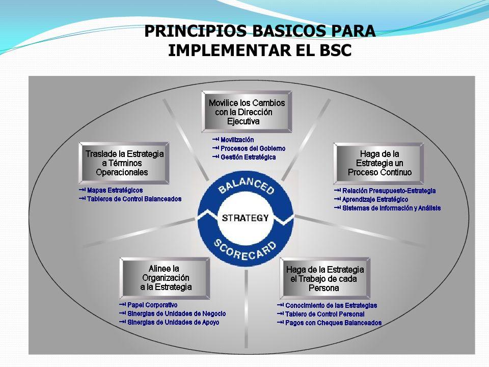 PRINCIPIOS BASICOS PARA IMPLEMENTAR EL BSC