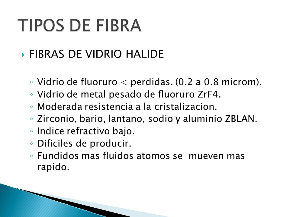TIPOS DE FIBRA FIBRAS DE VIDRIO HALIDE
