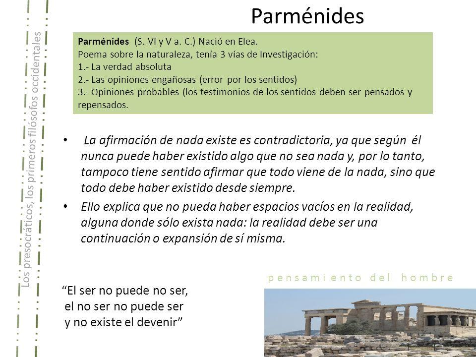 Parménides Parménides (S. VI y V a. C.) Nació en Elea. Poema sobre la naturaleza, tenía 3 vías de Investigación:
