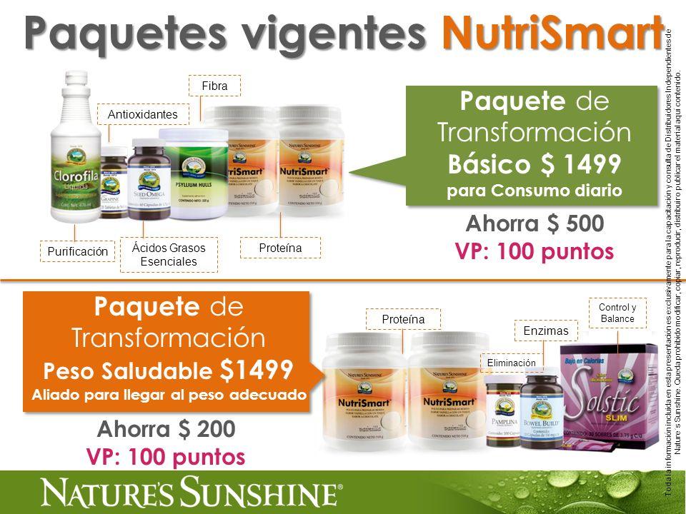 Paquetes vigentes NutriSmart Aliado para llegar al peso adecuado
