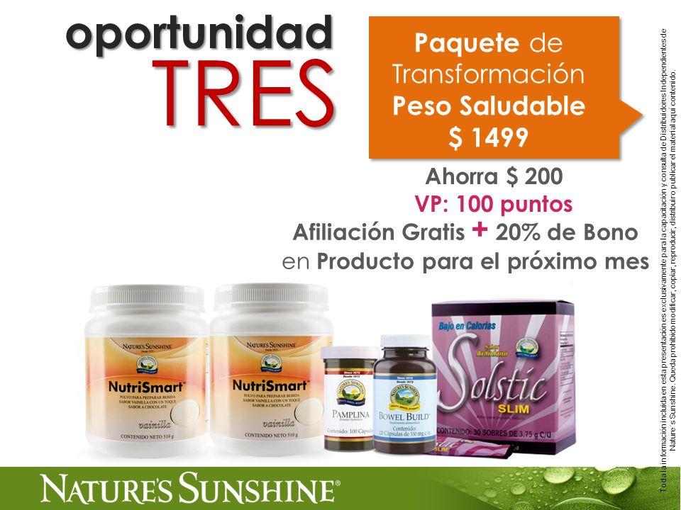 TRES oportunidad Paquete de Transformación Peso Saludable $ 1499