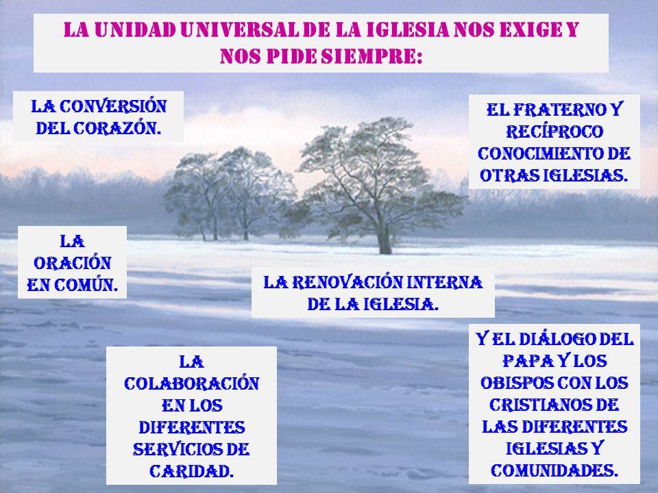 La Unidad Universal de la Iglesia nos exige y nos pide siempre: