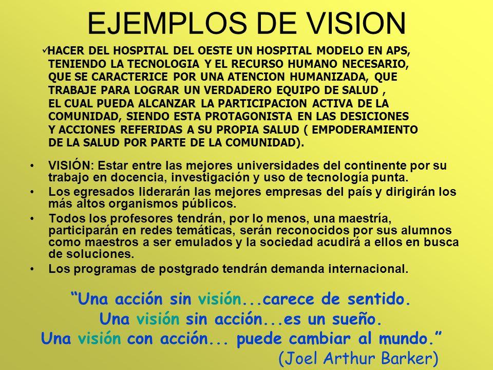 EJEMPLOS DE VISION Una acción sin visión...carece de sentido.