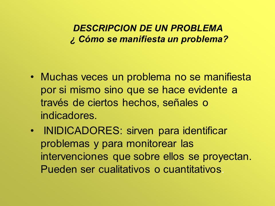 DESCRIPCION DE UN PROBLEMA ¿ Cómo se manifiesta un problema