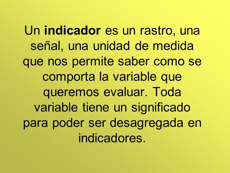 Un indicador es un rastro, una señal, una unidad de medida que nos permite saber como se comporta la variable que queremos evaluar.
