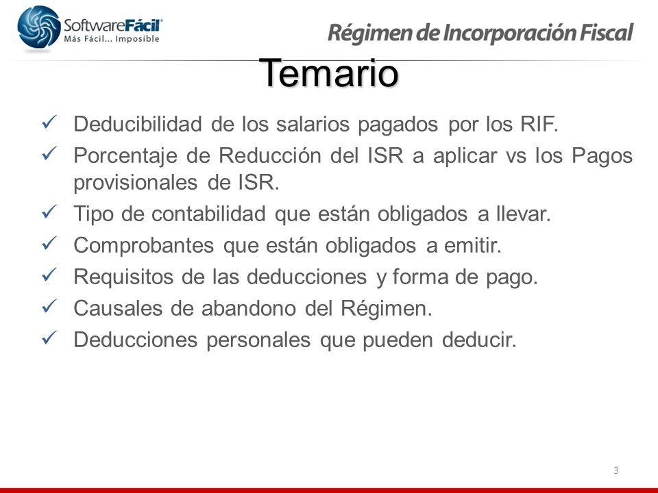 Temario Deducibilidad de los salarios pagados por los RIF.