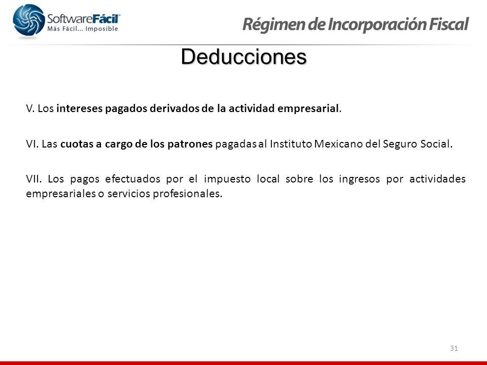 Deducciones V. Los intereses pagados derivados de la actividad empresarial.