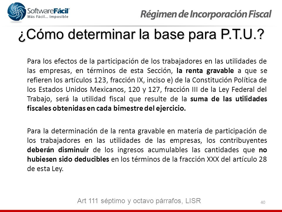 ¿Cómo determinar la base para P.T.U.
