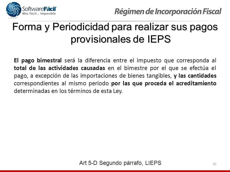 Forma y Periodicidad para realizar sus pagos provisionales de IEPS