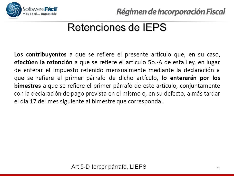 Retenciones de IEPS