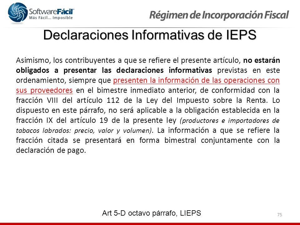 Declaraciones Informativas de IEPS