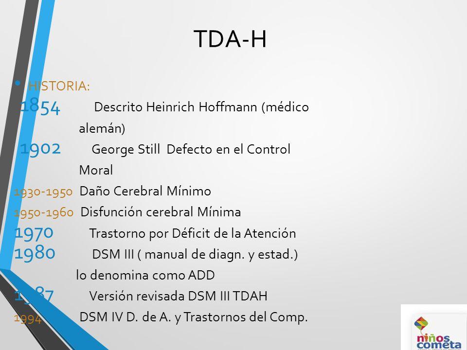 TDA-H HISTORIA: Descrito Heinrich Hoffmann (médico alemán)