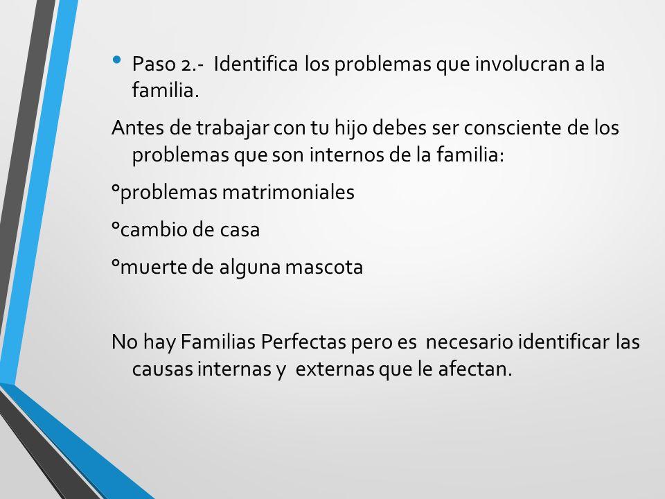Paso 2.- Identifica los problemas que involucran a la familia.