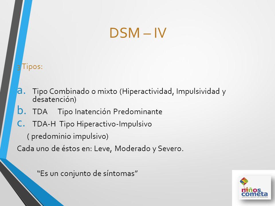 DSM – IV 3 Tipos: Tipo Combinado o mixto (Hiperactividad, Impulsividad y desatención) TDA Tipo Inatención Predominante.