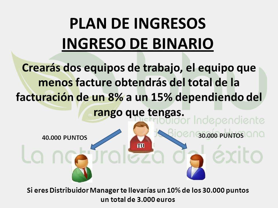 PLAN DE INGRESOS INGRESO DE BINARIO