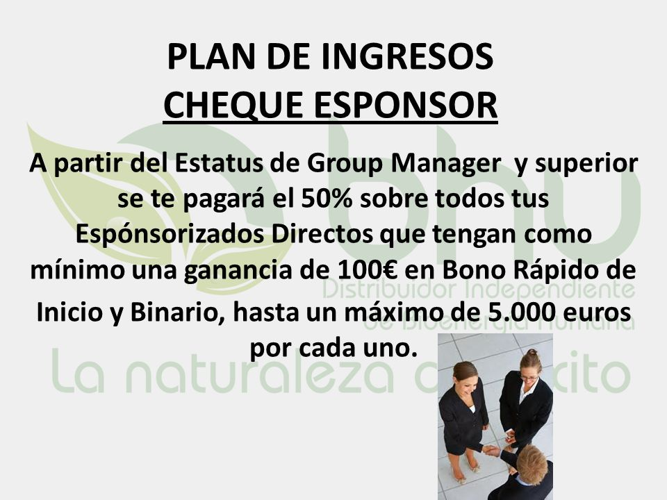 PLAN DE INGRESOS CHEQUE ESPONSOR
