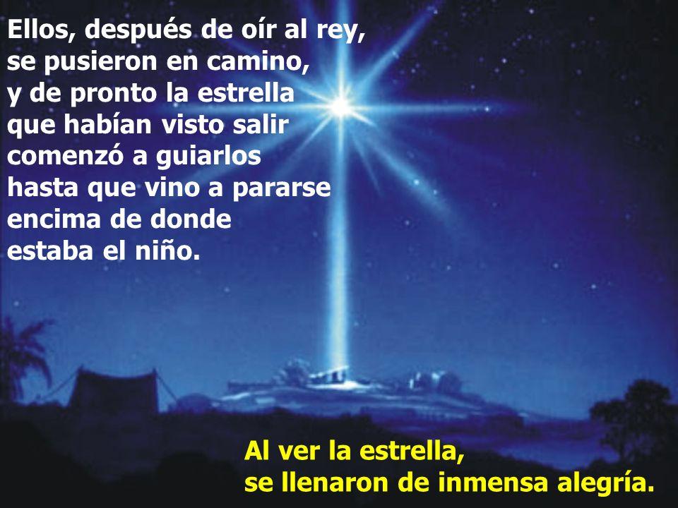 Ellos, después de oír al rey, se pusieron en camino, y de pronto la estrella que habían visto salir comenzó a guiarlos hasta que vino a pararse encima de donde estaba el niño.