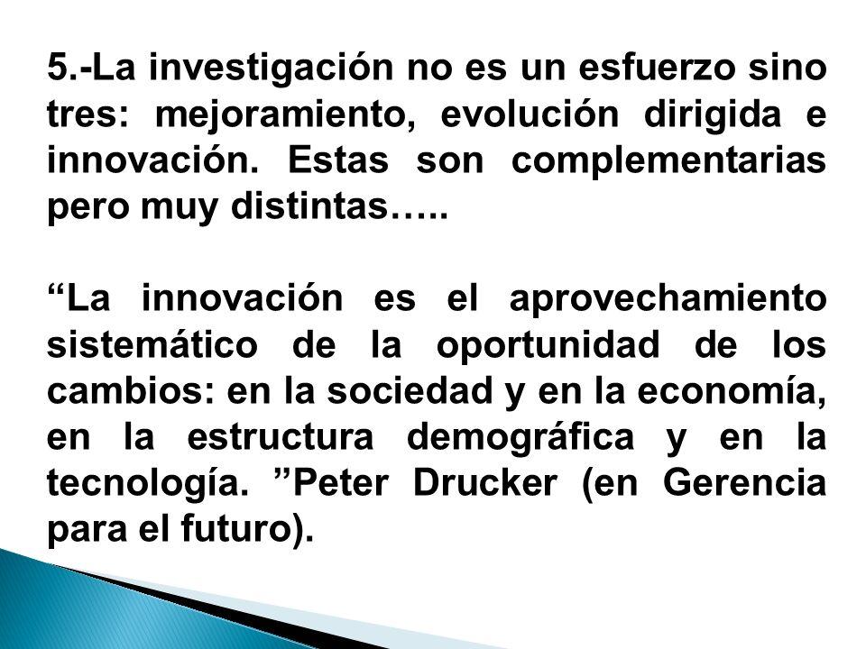 5.-La investigación no es un esfuerzo sino tres: mejoramiento, evolución dirigida e innovación. Estas son complementarias pero muy distintas…..