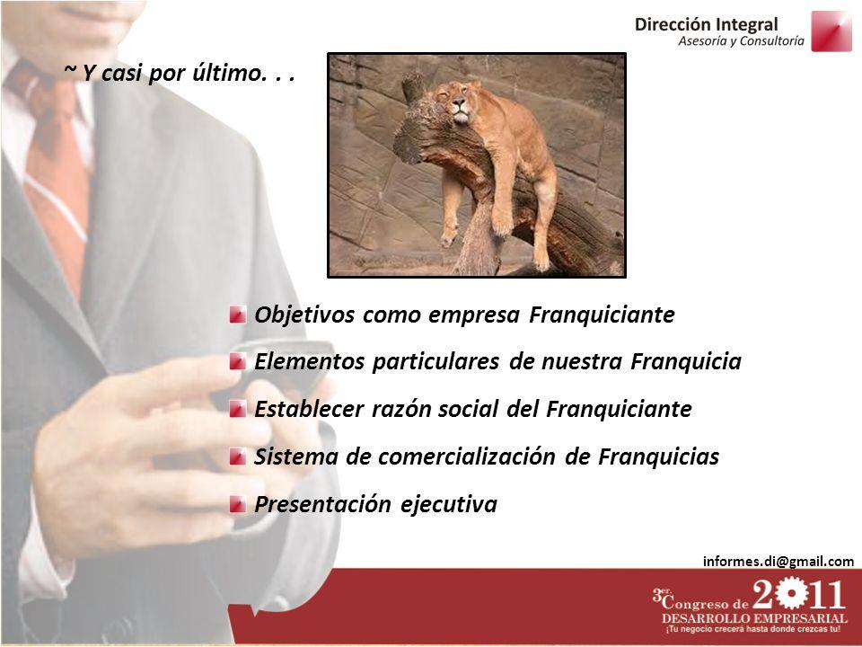 Objetivos como empresa Franquiciante
