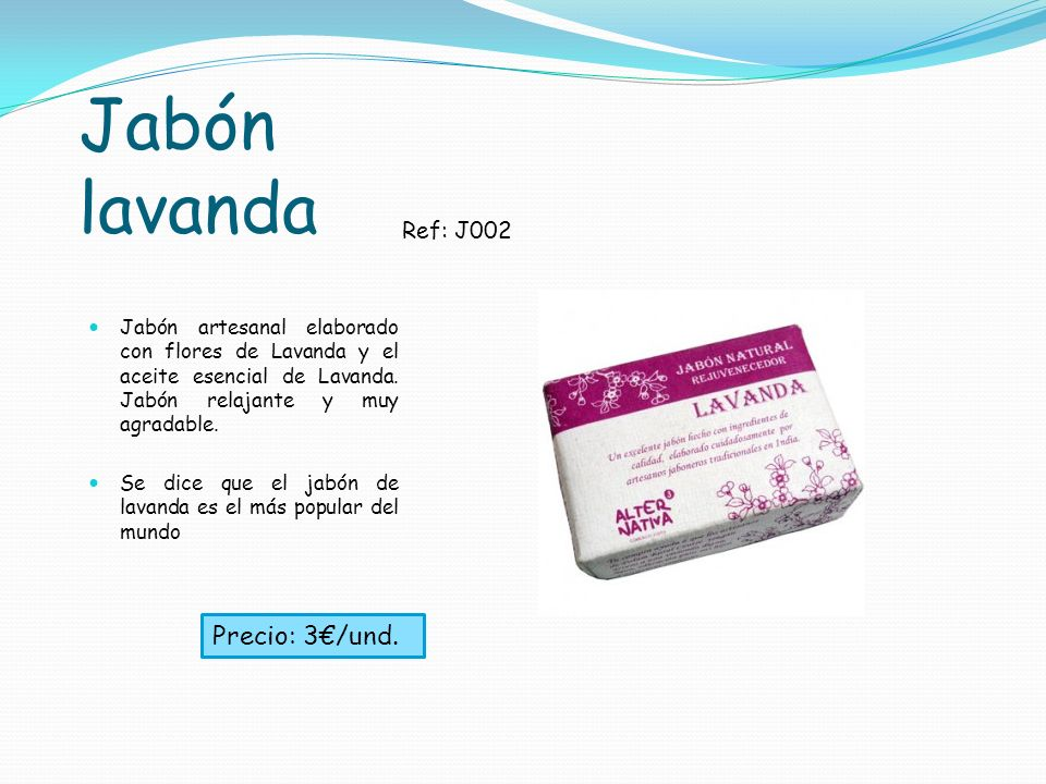 Jabón lavanda Precio: 3€/und. Ref: J002
