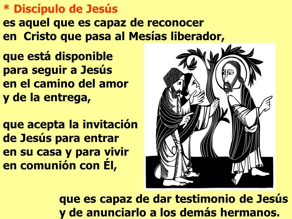 * Discípulo de Jesús es aquel que es capaz de reconocer. en Cristo que pasa al Mesías liberador,