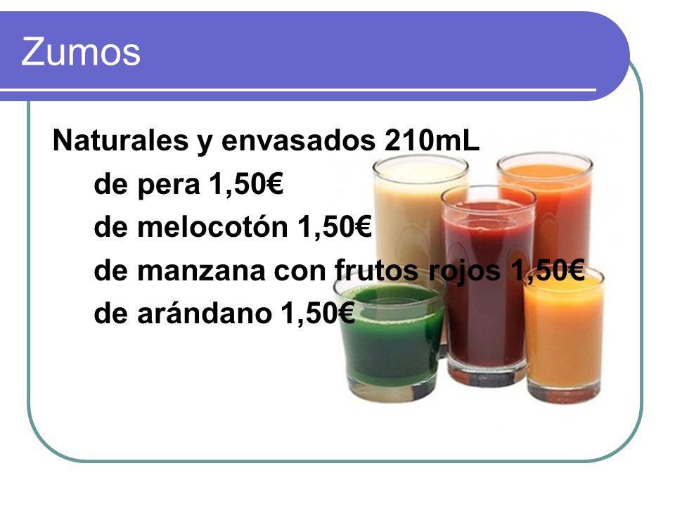 Zumos Naturales y envasados 210mL de pera 1,50€ de melocotón 1,50€