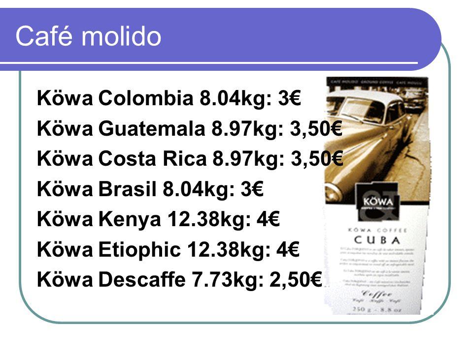 Café molido Köwa Colombia 8.04kg: 3€ Köwa Guatemala 8.97kg: 3,50€