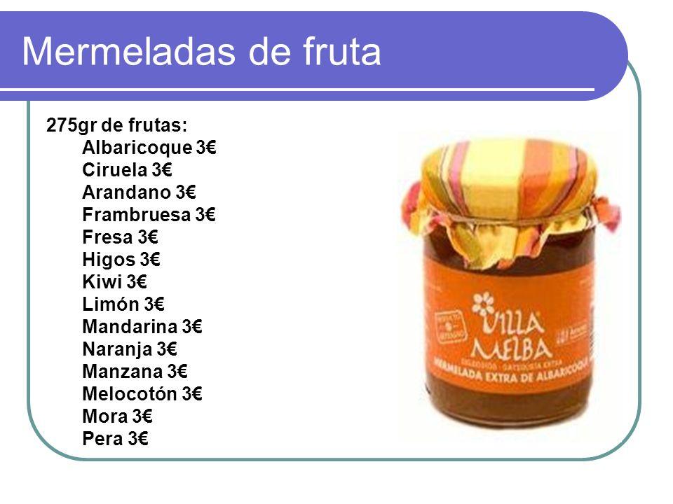 Mermeladas de fruta 275gr de frutas: Albaricoque 3€ Ciruela 3€