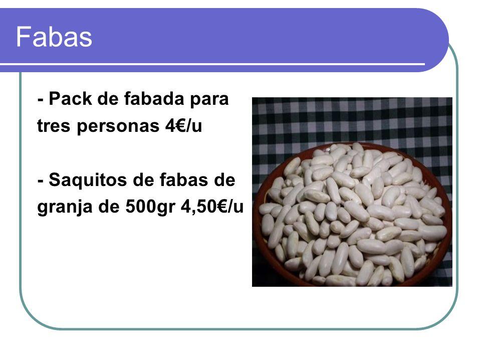 Fabas - Pack de fabada para tres personas 4€/u - Saquitos de fabas de