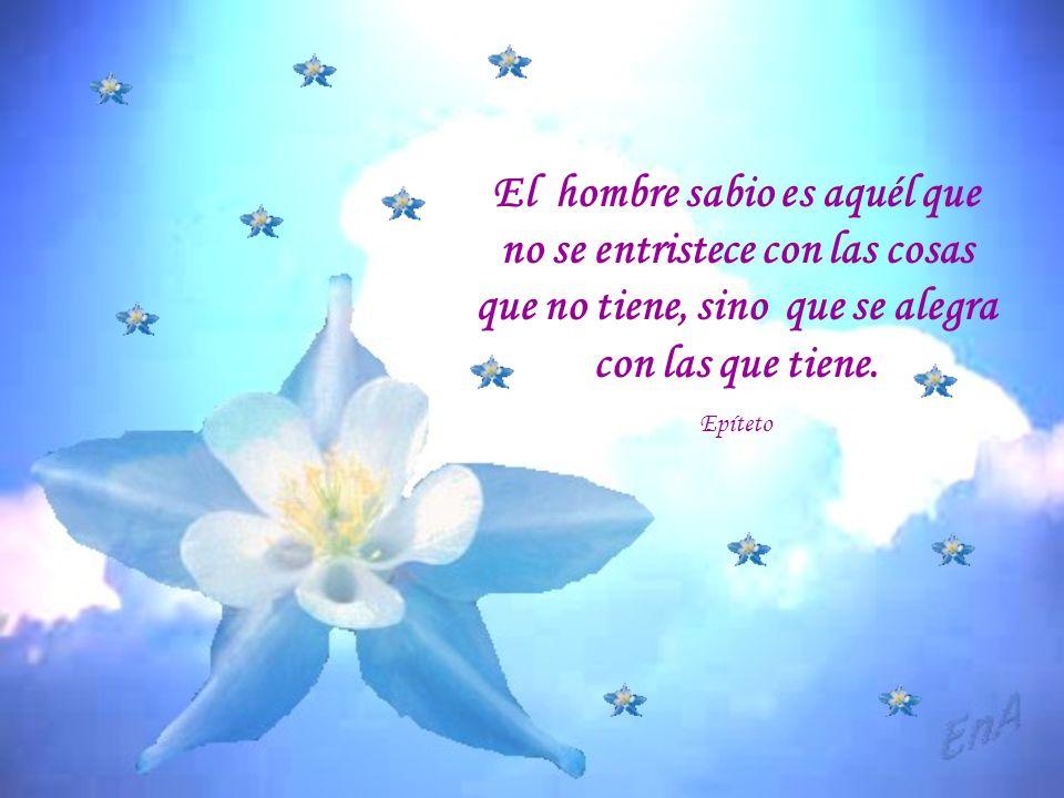 El hombre sabio es aquél que no se entristece con las cosas que no tiene, sino que se alegra con las que tiene.