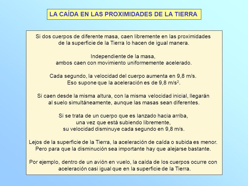 LA CAÍDA EN LAS PROXIMIDADES DE LA TIERRA