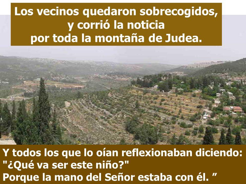 Los vecinos quedaron sobrecogidos, y corrió la noticia por toda la montaña de Judea.