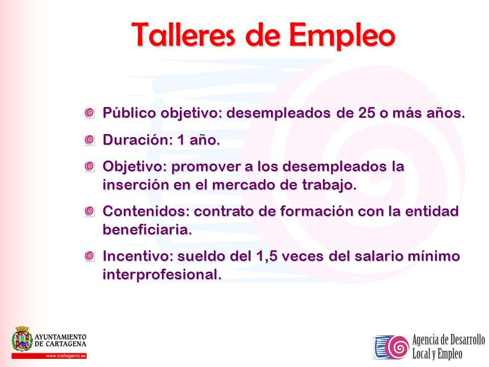 Talleres de Empleo Público objetivo: desempleados de 25 o más años.