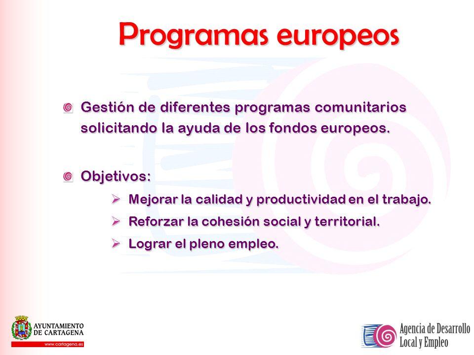 Programas europeos Gestión de diferentes programas comunitarios solicitando la ayuda de los fondos europeos.