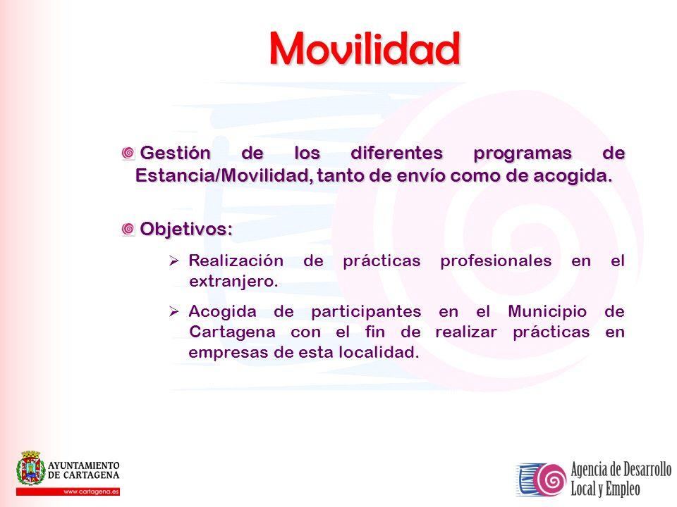 Movilidad Gestión de los diferentes programas de Estancia/Movilidad, tanto de envío como de acogida.