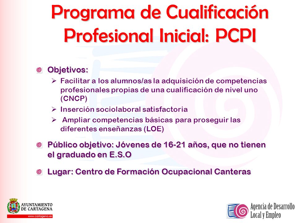 Programa de Cualificación Profesional Inicial: PCPI