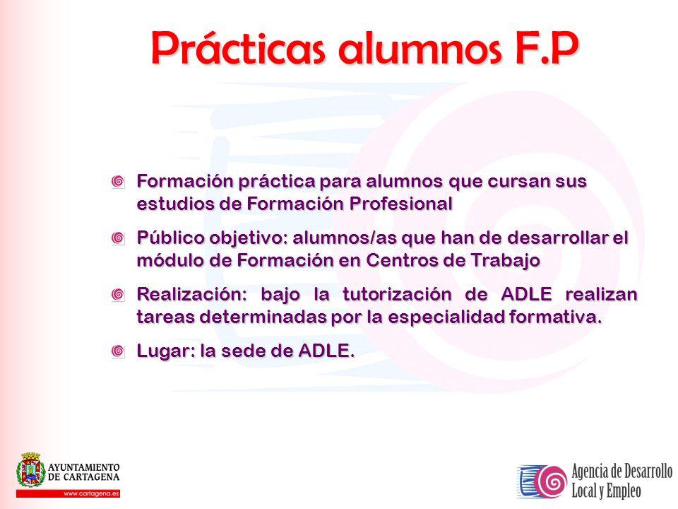 Prácticas alumnos F.P Formación práctica para alumnos que cursan sus estudios de Formación Profesional.