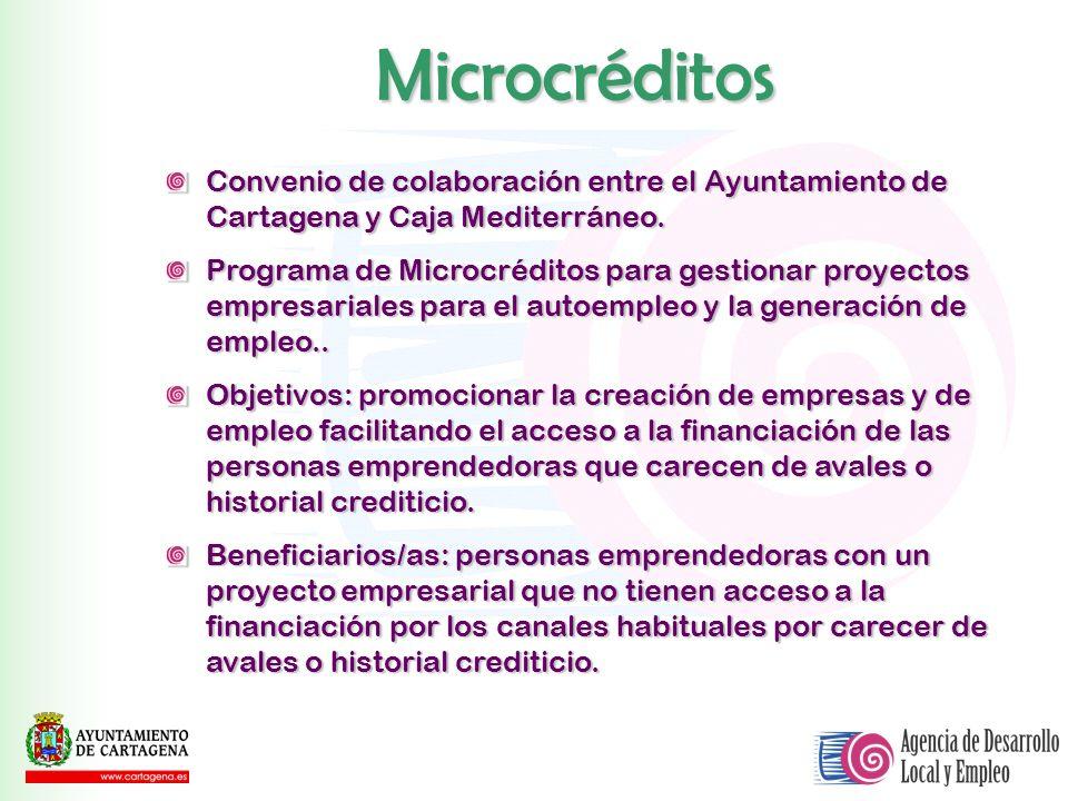 MicrocréditosConvenio de colaboración entre el Ayuntamiento de Cartagena y Caja Mediterráneo.