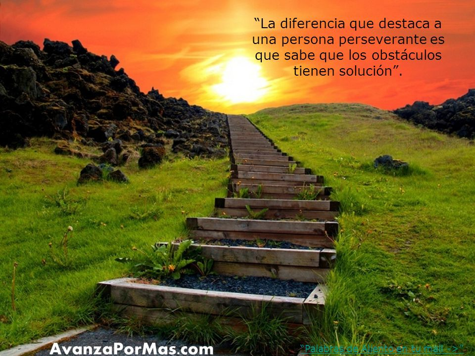 La diferencia que destaca a una persona perseverante es que sabe que los obstáculos tienen solución .