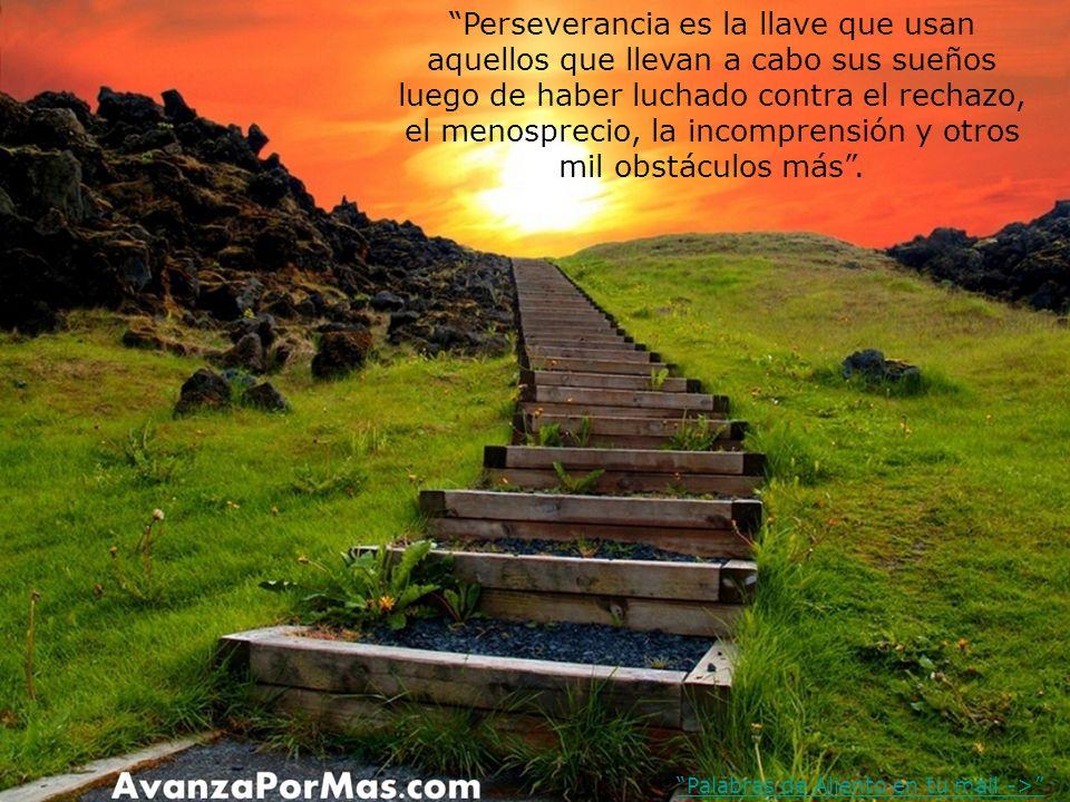 Perseverancia es la llave que usan aquellos que llevan a cabo sus sueños luego de haber luchado contra el rechazo, el menosprecio, la incomprensión y otros mil obstáculos más .
