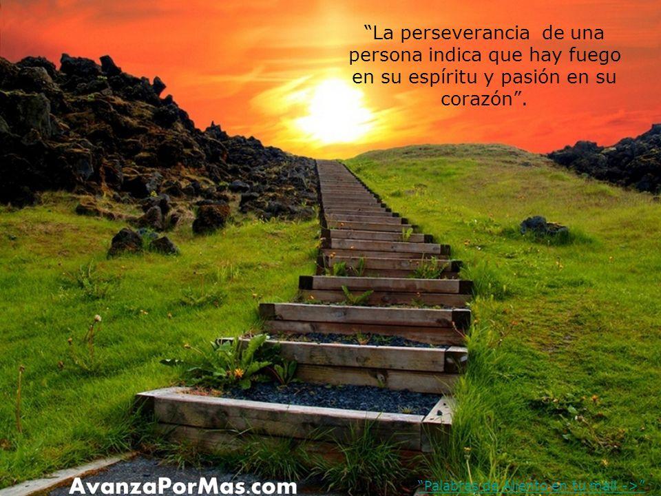 La perseverancia de una persona indica que hay fuego en su espíritu y pasión en su corazón .