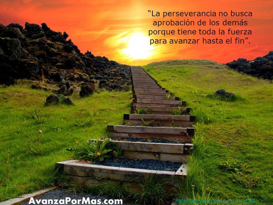 La perseverancia no busca aprobación de los demás porque tiene toda la fuerza para avanzar hasta el fin .