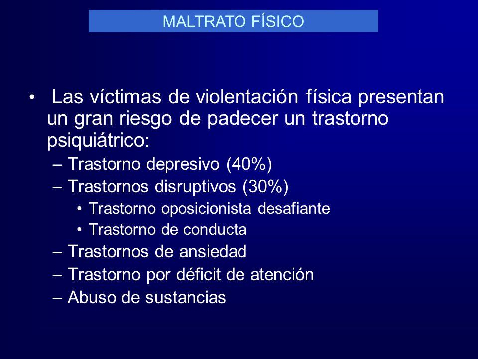MALTRATO FÍSICO Las víctimas de violentación física presentan un gran riesgo de padecer un trastorno psiquiátrico: