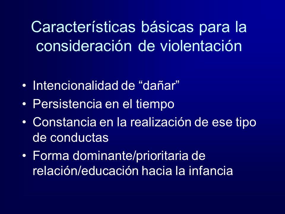Características básicas para la consideración de violentación